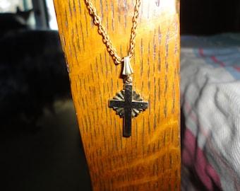 Vintage Mini Cross Pendant Necklace Gold Tone Religious Jewelry