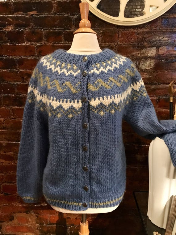 Vintage Hand knit Blue White Green Fair Isle Hand knit Cardigan Sweater Jacket Lined Coat Size Large