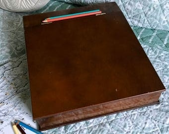 Vintage Polished Wood Lap Desk Slant Top Lap Desk With Storage Compartments  Wooden Box With Hinged