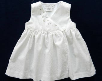 Dress baby wrap in white eyelet and embroidery handmade silver - 12 months