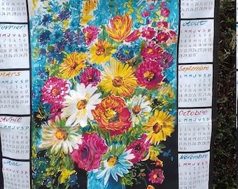 French floral Calendar tea towel 1972 'LOCATELLI'