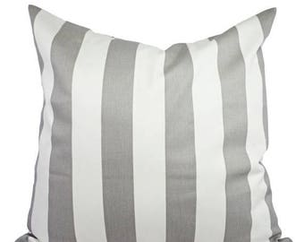 15% OFF SALE Two Grey and White Striped Decorative Throw Pillow Covers - Cushion Cover Accent Pillow 12x16 12x18 14x14 16x16 18x18 20x20 22x