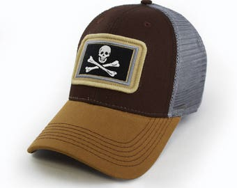 Jolly Rodger Pirate Flag Trucker, Structured, Brown
