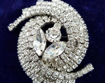 Vintage signed Jewelry /continental Brooch/rhinstones/Crystal Jewelry / brooch /makers mark/ jewellery