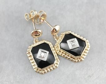 Black Onyx Diamond Gold Drop Earrings ZY74EX-R