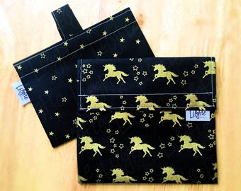 "Reusable Sandwich Bag & Reusable Snack Bag in ""Unicorns and Stars"" cotton print - Back to School"