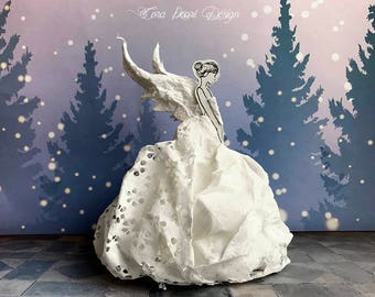 christmas angel tree topper gift boxed fairy decoration paper sculpture art doll - Christmas Angel Tree Topper