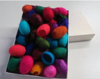 SALE 20  Hand dyed Silk cocoons (Mixed Jewel Tones)