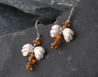 Silver and Amber dragonfly earrings, Raw gemstone earrings, OOAK earrings, Unique jewelry for women, SE2017