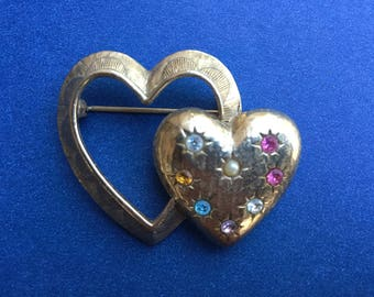 Vintage Emmons Double Heart Brooch