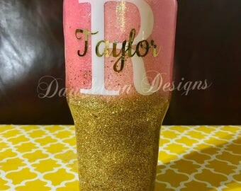 Glitter Tumbler Glitter Cup Pink And Gold Ombre Name Initial Monogram Custom Color Scheme Stainless