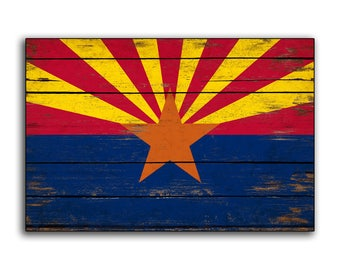 Arizona wood Flag Flags Rustic Flags The Copper State  Phoenix wooden handmade sign print  sign decor sign wall decor cottage signs