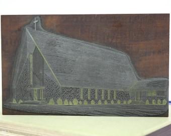 Vintage Church Scene Printing Letterpress / Religious Printers Block Printers Cut