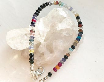 Stunning crystal bracelet - iolite,sapphire, tourmaline