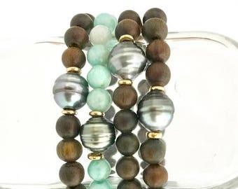SUMMER SALE Tahitian pearl beaded bracelet