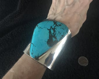 Beautiful Charles Albert Sterling Silver Chinese Turquoise Cuff