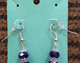 Dangle dark blue and silver earrings
