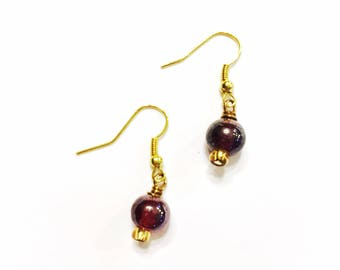 Dark Red Glass Earrings on Gold French Wire Hooks
