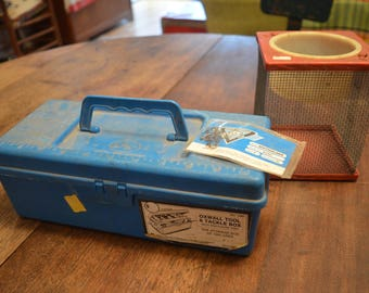 Vintage fishing set cricket box blue tackle box hooks movie prop retro