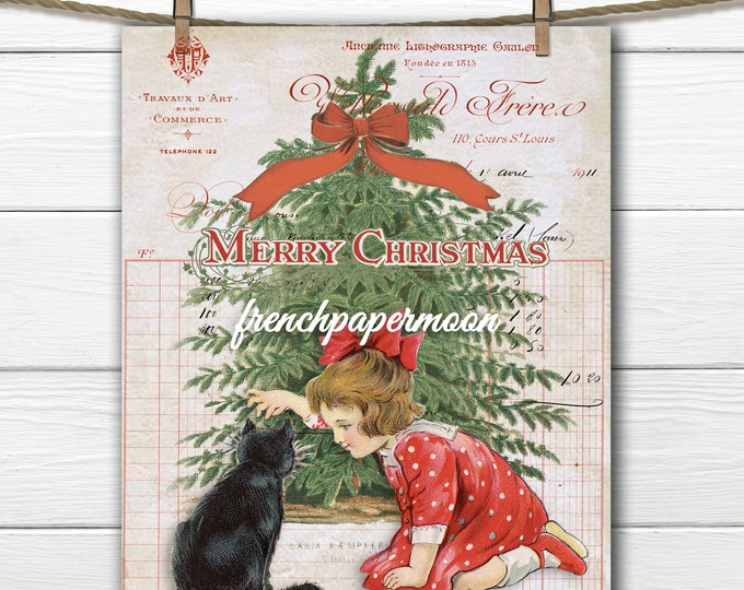 Victorian Christmas, Girl, Cat, Christmas tree, Vintage French Graphics, Christmas Pillow, Image Transfer, DIY Christmas