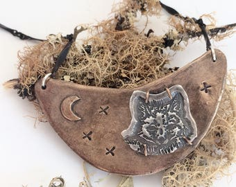 Sterling Silver and Bronze Fox at Night Necklace
