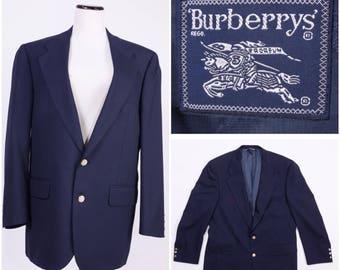 BURBERRY Men's Navy Blue Jacket / Coat / Blazer w/ Gold Embellished Buttons