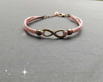 "Bracelet ""Infinity liberty"" pink tone and swarovski crystal drop"