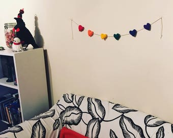 Knitted Rainbow Heart Bunting