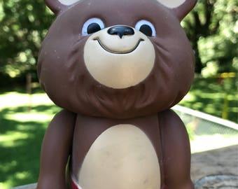 Adorable Misha Bear Mascot Bank, 1980 Moscow Olympics, USSR, molded plastic 6 in.