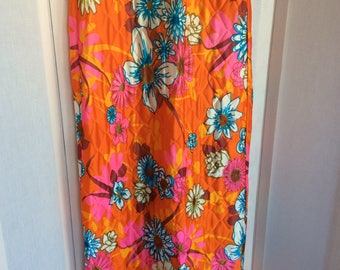 Flower power floral 70s peekaboo long skirt size medium 8 to 10