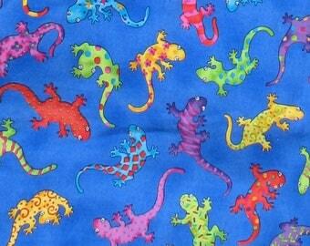 Reptiles, Lizards, Multicolor, Rainbow, Children's Fabric, Animals, Quilt Fabric