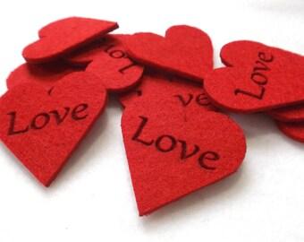 """10 hearts """"Love"""",felt, 5x5 cm, * COLOUR CHOICE * (F04-0001A)"""