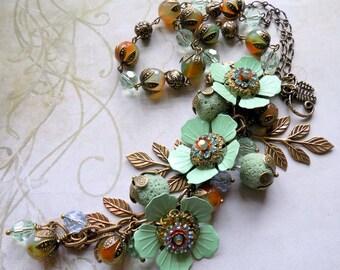 "Vintage Style Flower Necklace, OOAK ""Leafy Glade"", Vintage Style Necklace, Victorian Style Necklace, Mint Green Necklace, Boho Necklace"