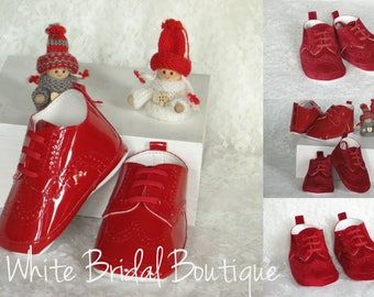 Christmas shoes Red baby shoes Boy christmas shoes Baby moccasins Patent leather baby shoes Handmade shoes Red patent leather baby shoes
