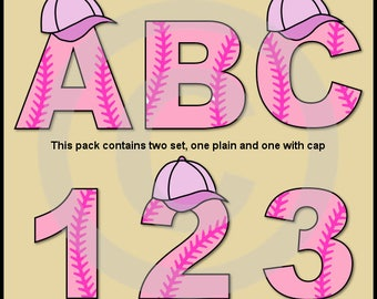 Pink Baseball Alphabet Letters & Numbers Clip Art Graphics