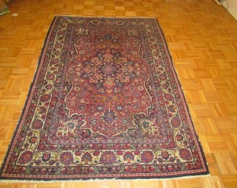 5 x 7 Semi Antique Hand Knotted Persian Rug Vegetable Dyes #B21