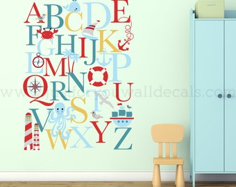 Alphabet Wall Decal - Alphabet Decal - Nautical Nursery Wall Decals - Playroom Wall Decal - Play Room Wall Decal - Wall Sticker - 01-0035
