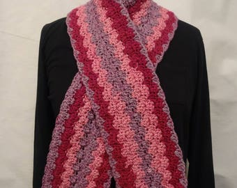 Raspberry Waves Crochet Scarf