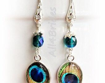 Peacock feather earrings, peacock wedding bridesmaids or bridal earrings, peacock wedding jewelry