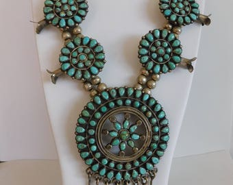 Navajo Sterling Silver Petit Point Turquoise  Squash Blossom Necklace by J.M. Begay 170 Grams