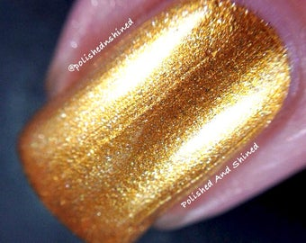 Gold Nail Polish - Bright Gold Metallic Shimmer - Ghostly Chariot from the Crystal Knockout The Wild Hunt Collection (15mL Full Size)