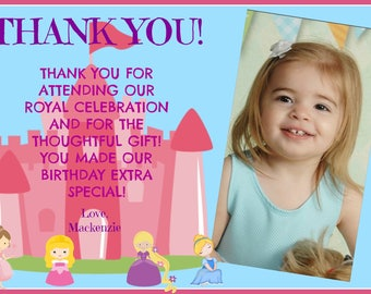 Princess Thank You Card Picture Customized writing