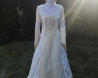 Celtic Ivory Cream Bespoke Medieval Renaissance Pre Raphalite Pagan Handfasting Wedding Gown Dress 8