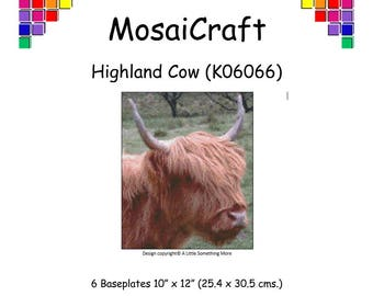 MosaiCraft Pixel Craft Mosaic Art Kit 'Highland Cow' (Like Mini Mosaic and Paint by Numbers)