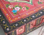 Vintage Scandinavian Handpainted Blanket  Hope Marriage Chest,Coffee Table, Trunk Storage