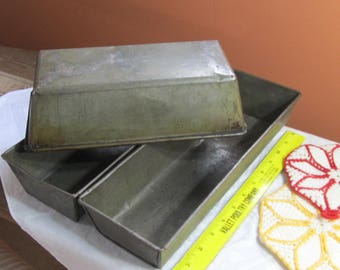 Vintage loaf pans x 3; early 1900's bread pans; kitchen cook stove/oven