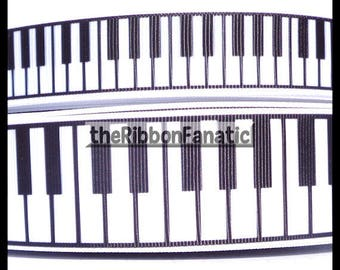 "5 yds 7/8"" or 1.5"" Black and White Piano Keys Keyboard Music Musical Grosgrain Music Ribbon"
