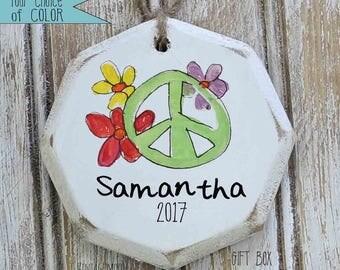 personalized peace sign ornament, boho Christmas decor, custom ornaments, ornament exchange, boho Christmas, hippie Christmas