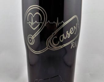 SUMMER SALE ends 8/30 14.99 Personalized Custom Engraved 20Oz Stainless Steel Tumblers Nursing Travel Mugs. Thank your Nurse Today