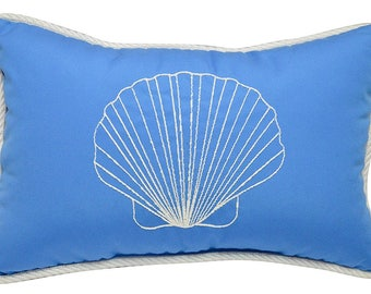 Ocean Luxury Embroidered/Monogram Decorative Shell Throw Pillow Cover - Enjoy Beach Life at It's Best in Your Home!